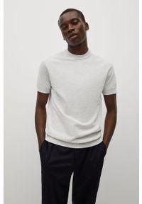 Mango Man - T-shirt Technoc. Okazja: na co dzień. Kolor: szary. Materiał: dzianina, skóra, materiał. Wzór: gładki. Styl: casual