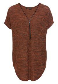 Shirt oversize z zamkiem bonprix terakota melanż. Typ kołnierza: dekolt w serek. Kolor: pomarańczowy. Wzór: melanż