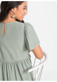 Sukienka z ażurowym haftem bonprix zielony. Kolor: zielony. Wzór: haft, ażurowy