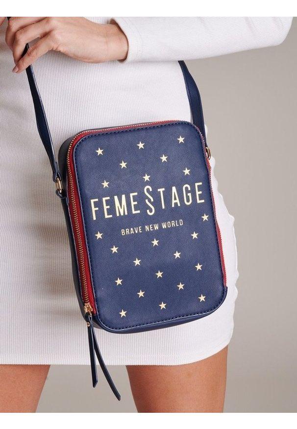 Niebieska torebka FEMESTAGE Eva Minge z aplikacjami, zdobiona