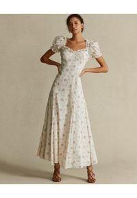 Ralph Lauren - RALPH LAUREN - Długa sukienka w kwiatowy wzór. Typ kołnierza: polo. Kolor: biały. Materiał: bawełna. Wzór: kwiaty. Typ sukienki: dopasowane, rozkloszowane. Długość: maxi