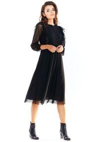 e-margeritka - Sukienka tiulowa elegancka czarna - m. Typ kołnierza: kołnierz z falbankami. Kolor: czarny. Materiał: tiul. Wzór: aplikacja. Styl: elegancki. Długość: midi