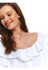 TOP SECRET - Koszula damska z falbaną przy dekolcie. Okazja: do pracy. Kolor: biały. Materiał: jeans. Długość rękawa: długi rękaw. Długość: długie. Sezon: wiosna