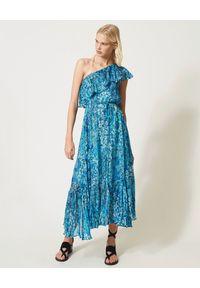 Niebieska sukienka TwinSet wakacyjna, maxi, w kwiaty
