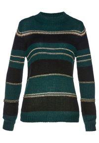Zielony sweter bonprix w paski