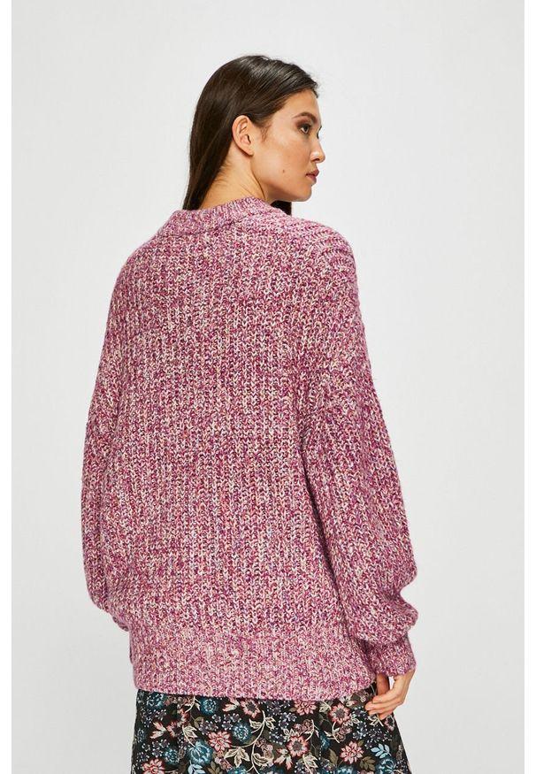 Fioletowy sweter medicine z okrągłym kołnierzem, casualowy