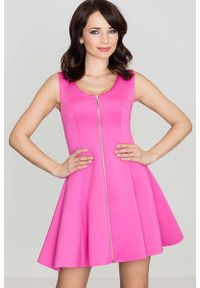 Różowa sukienka rozkloszowana Katrus bez rękawów