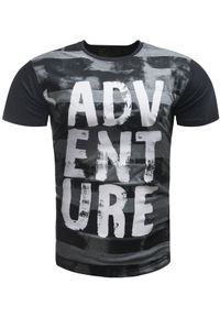 Czarny t-shirt z nadrukiem Recea klasyczny, na co dzień, z krótkim rękawem