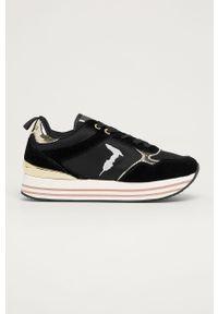 Czarne buty sportowe Trussardi Jeans na sznurówki, z cholewką, z okrągłym noskiem