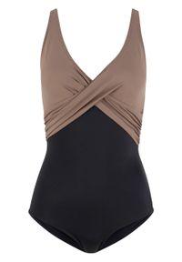 Kostium kąpielowy, przyjazny dla środowiska bonprix czarno-brunatny. Kolor: czarny