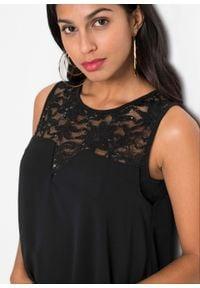 Sukienka z dżerseju i szyfonu bonprix czarny. Kolor: czarny. Materiał: jersey, szyfon. Styl: elegancki