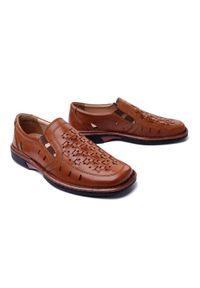 Comfortabel - COMFORTABEL 630597-2 braun, półbuty/mokasyny męskie. Kolor: brązowy. Materiał: skóra, guma. Szerokość cholewki: normalna. Wzór: ażurowy