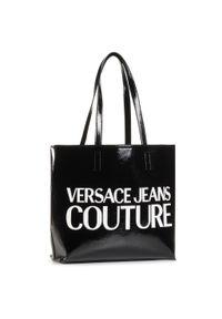 Czarna shopperka Versace Jeans Couture skórzana, klasyczna
