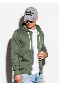 Ombre Clothing - Bluza męska rozpinana z kapturem B977 - khaki - XXL. Typ kołnierza: kaptur. Kolor: brązowy. Materiał: bawełna, poliester. Styl: klasyczny