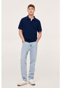 Mango Man - Polo bawełniane JULIANP. Okazja: na co dzień. Typ kołnierza: polo. Kolor: niebieski. Materiał: bawełna. Długość: krótkie. Styl: casual