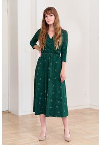 Zielona sukienka Marie Zélie prosta, na jesień