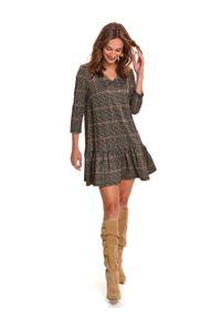 TOP SECRET - Mini sukienka w kratę. Typ kołnierza: dekolt w serek. Kolor: beżowy. Sezon: zima. Typ sukienki: proste. Styl: elegancki. Długość: mini