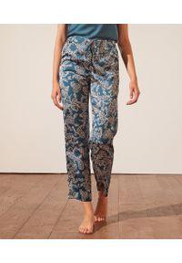 Baho Wzorzyste Spodnie Od Piżamy - S - Zielony - Etam. Kolor: zielony. Materiał: bawełna, koronka. Wzór: kwiaty, koronka, aplikacja, nadruk