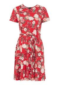 Happy Holly Sukienka w kwiaty Tova czerwony we wzory female czerwony/ze wzorem 48/50. Kolor: czerwony. Materiał: dzianina, jersey. Wzór: kwiaty