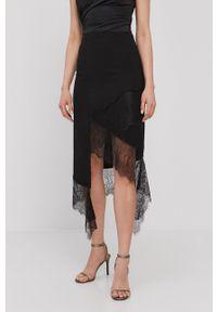 Nissa - NISSA - Spódnica. Okazja: na co dzień. Kolor: czarny. Materiał: tkanina, koronka. Wzór: gładki. Styl: casual