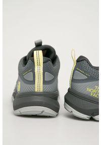Szare buty trekkingowe The North Face na sznurówki, z cholewką, z okrągłym noskiem, trekkingowe