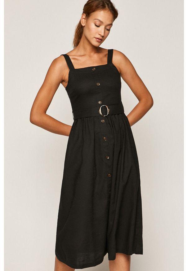 Czarna sukienka medicine prosta, casualowa, na co dzień