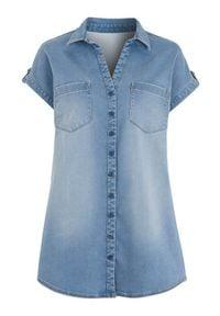 Cellbes Dżinsowa koszula z krótkim rękawem light blue denim female niebieski 34/36. Typ kołnierza: dekolt w serek. Kolor: niebieski. Materiał: denim. Długość rękawa: krótki rękaw. Długość: krótkie