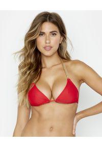 BEACH BUNNY - Top od bikini Ball and Chain. Kolor: czerwony. Materiał: materiał. Wzór: aplikacja