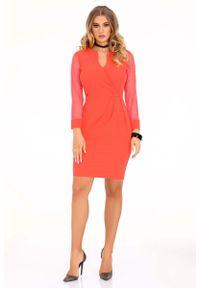 Merribel - Koralowa Dopasowana Sukienka z Transparentnym Rękawem. Kolor: pomarańczowy. Materiał: poliester