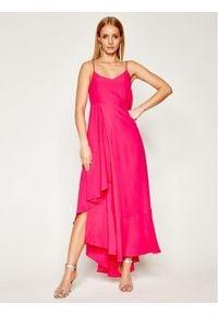 TwinSet - Sukienka maxi z mieszanki jedwabiu i asymetryczną falbaną Twinset (Outlet). Kolor: różowy. Materiał: jedwab. Typ sukienki: asymetryczne. Styl: klasyczny. Długość: maxi