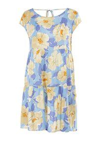 Born2be - Niebieska Sukienka Taphissis. Kolor: niebieski. Materiał: tkanina. Długość rękawa: bez rękawów. Wzór: kwiaty. Długość: mini