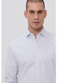 Premium by Jack&Jones - Koszula. Typ kołnierza: kołnierzyk włoski. Kolor: biały. Materiał: bawełna, tkanina. Długość rękawa: długi rękaw. Długość: długie