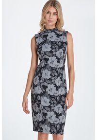 Sukienka do pracy, midi, klasyczna, ze stójką