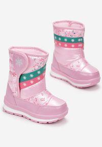Born2be - Różowe Śniegowce Ariesnys. Zapięcie: rzepy. Kolor: różowy. Materiał: futro, guma. Szerokość cholewki: normalna. Wzór: aplikacja, nadruk. Sezon: zima