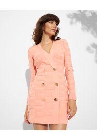 Elisabetta Franchi - ELISABETTA FRANCHI - Jasnoróżowa sukienka z logo. Kolor: różowy, wielokolorowy, fioletowy. Długość rękawa: długi rękaw. Typ sukienki: dopasowane. Długość: mini