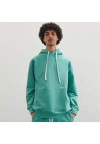 Reserved - Dzianinowa bluza z kapturem - Zielony. Typ kołnierza: kaptur. Kolor: zielony. Materiał: dzianina