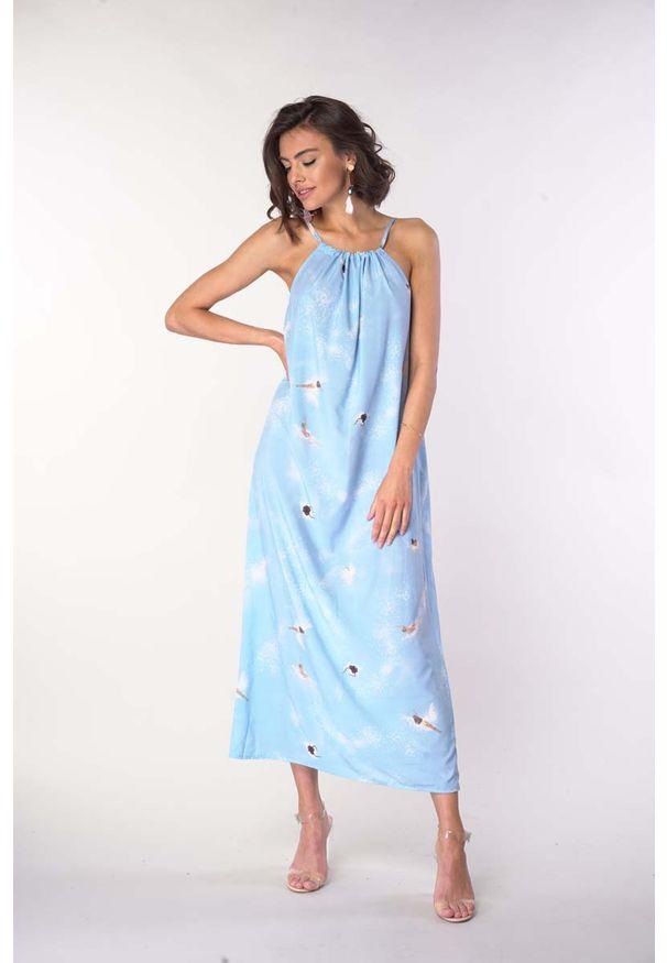 Niebieska sukienka wizytowa Nommo na lato, na ramiączkach, maxi