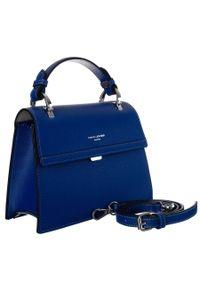 Niebieska torebka DAVID JONES na ramię, casualowa, skórzana