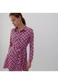 Reserved - Wzorzysta sukienka - Różowy. Kolor: różowy