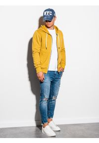 Żółta bluza Ombre Clothing klasyczna, z kapturem