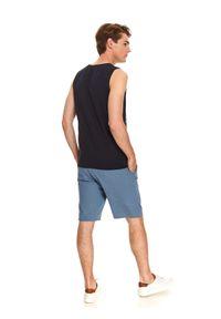 Niebieski t-shirt TOP SECRET bez rękawów, klasyczny