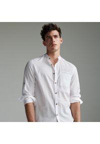 Reserved - Bawełniana koszula slim fit - Biały. Kolor: biały. Materiał: bawełna