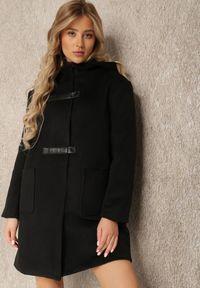 Renee - Czarny Płaszcz Erusa. Kolor: czarny. Materiał: skóra, poliester. Wzór: aplikacja