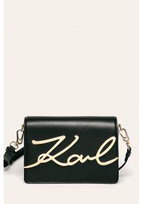 Czarna listonoszka Karl Lagerfeld z aplikacjami, na ramię, z aplikacjami