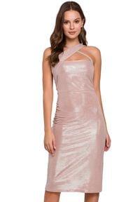 Makover - Dopasowana połyskująca sukienka zjawiskowy dekolt. Okazja: na imprezę. Typ sukienki: ołówkowe, asymetryczne. Długość: midi