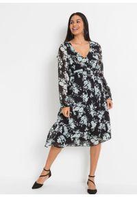 Sukienka midi z nadrukiem, z poliestru z recyklingu bonprix czarno-turkusowy w roślinny wzór. Kolor: czarny. Materiał: poliester. Wzór: nadruk. Długość: midi