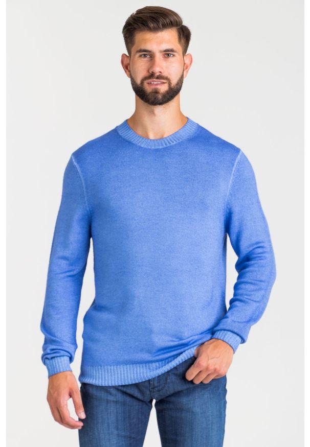 Niebieski sweter JOOP! Jeans z aplikacjami, z okrągłym kołnierzem
