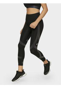 Czarne legginsy 4f z podwyższonym stanem, z nadrukiem