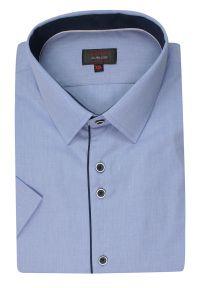 Niebieska elegancka koszula Jurel krótka, z krótkim rękawem, na spotkanie biznesowe