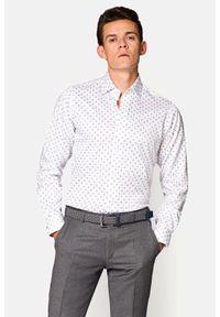 Lancerto - Koszula Biała z Nadrukiem Emma. Kolor: biały. Materiał: bawełna, tkanina, jeans. Wzór: nadruk
